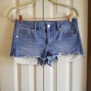 American Eagle Shortie Shorts exposed pockets sz 8